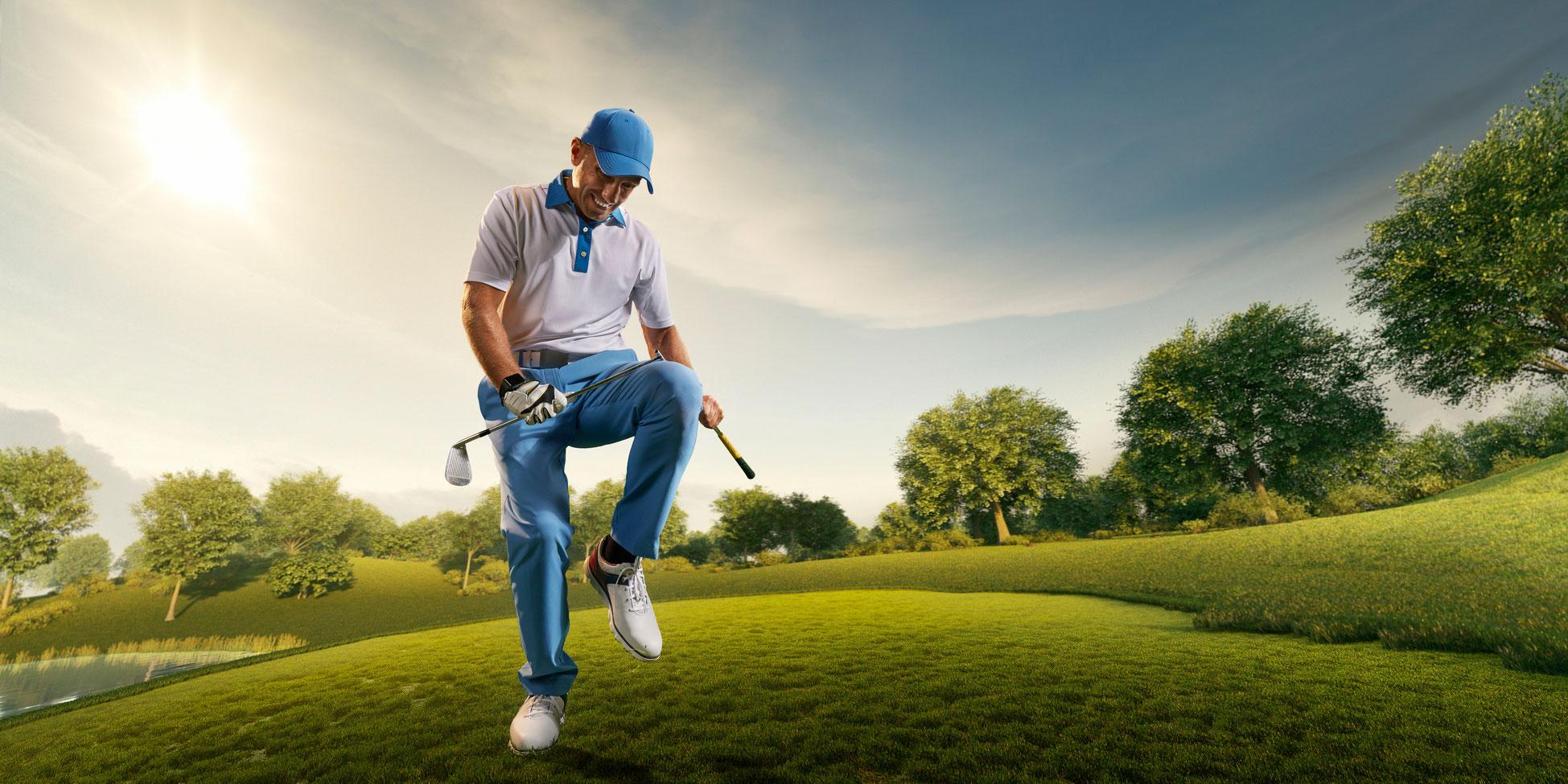 Joueur de golf brisant son club